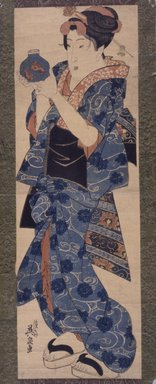 Eisen Keisai (Japanese, 1790-1848). Beauty Holding a Goldfish Bowl, ca. 1830. Woodblock color print, Sheet: 28 x 11 1/2 in. (71.1 x 29.1 cm). Brooklyn Museum, Gift of Elizabeth Frothingham, 43.236.1