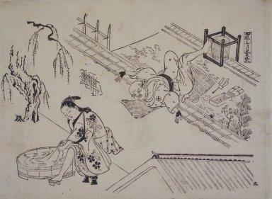 Okumura Masanobu (Japanese, 1686-1764). A Roofer's Precariousness, 18th century. Woodblock print, 10 3/4 x 14 5/8 in. (27.3 x 37.1 cm). Brooklyn Museum, 43.248