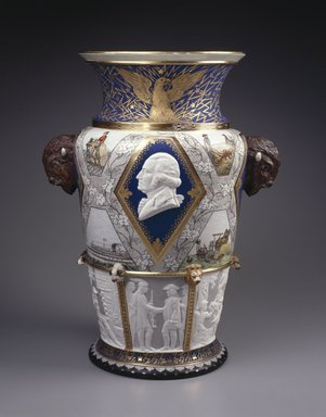 Karl L. H. Mueller (American, born Germany, 1820-1887). Century Vase, 1876. Porcelain, Height: 22 1/4 in. (56.5 cm). Brooklyn Museum, Gift of Carll and Franklin Chace, in memory of their mother, Pastora Forest Smith Chace, daughter of Thomas Carll Smith, the founder of the Union Porcelain Works, 43.25. Creative Commons-BY
