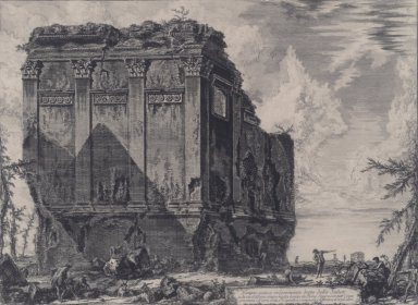 Giovanni Battista Piranesi (Italian, Venetian, 1720-1778). The So-called Temple of Salus, on the Road to Albano, 1763. Etching on laid paper, 16 5/16 x 22 1/16 in. (41.4 x 56 cm). Brooklyn Museum, Gift of J. Oettinger, 43.77