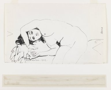 Walt Kuhn (American, 1877-1949). Paula, 1929. Pen and ink on paper, Sheet: 7 1/2 x 12 1/2 in. (19.1 x 31.8 cm). Brooklyn Museum, Anonymous gift, 43.82. © Estate of Walt Kuhn
