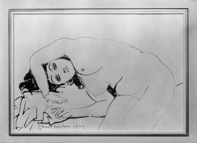 Walt Kuhn (American, 1877-1949). Paula, 1929. Pen and ink on paper, Sheet: 7 1/2 x 12 1/2 in. (19.1 x 31.8 cm). Brooklyn Museum, Anonymous gift, 43.82. © Estate of Walt Kuhn