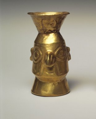 Chimú Inca. Beaker, 1400-1532. Gold, 3 13/16 x 1 7/8 x 1 7/8 in. (9.7 x 4.8 x 4.8 cm). Brooklyn Museum, Gift as a memorial to Dr. Harlow Brooks, 43.87.7. Creative Commons-BY
