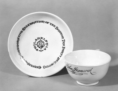 Glasgow Pottery Company. Cup and Saucer, 1873. White granite ware Brooklyn Museum, Gift of Arthur W. Clement, 44.1.22. Creative Commons-BY