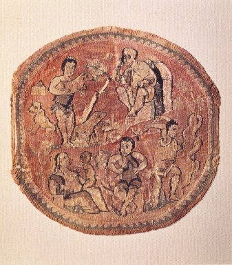 Coptic. Tapestry Roundel, 5th century C.E. Linen, wool, 4 11/16 x Diam. 4 3/4 in. (11.9 x 12.1 cm). Brooklyn Museum, Charles Edwin Wilbour Fund, 44.143a. Creative Commons-BY