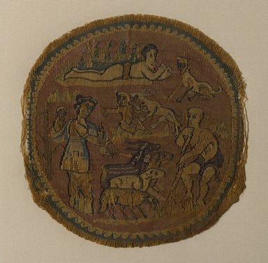 Coptic. Roundel, 5th century C.E. Linen, wool, 4 5/8 x Diam. 4 1/2 in. (11.8 x 11.5 cm). Brooklyn Museum, Charles Edwin Wilbour Fund, 44.143d. Creative Commons-BY