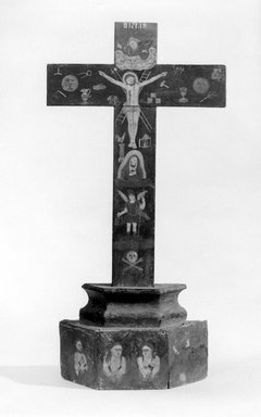 Cross, probably early 19th century. Wood; pigment, 22 3/4 x 11 1/4 x 3 1/2 in. (57.8 x 28.6 x 8.9 cm). Brooklyn Museum, Museum Expedition 1944, Purchased with funds given by the Estate of Warren S.M. Mead, 44.195.19. Creative Commons-BY