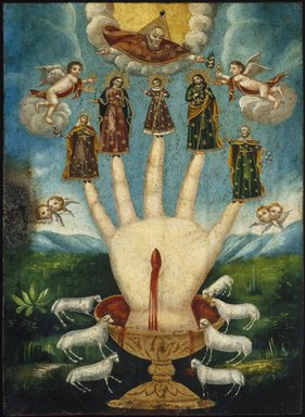 Mexican. Mano Poderosa (The All-Powerful Hand), or Las Cinco Personas (The Five Persons), 19th century. Oil on metal (possibly tin-plated iron), 13 7/8 x 10 1/16 in. (35.2 x 25.6 cm). Brooklyn Museum, Museum Expedition 1944, Purchased with funds given by the Estate of Warren S.M. Mead, 44.195.24