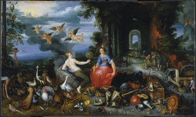 Studio of Jan Brueghel the Younger (Flemish, 1601-1678). Allegory of Air and Fire, ca. 1630. Oil on panel, 20 1/16 x 34 in.  (51.0 x 86.4 cm). Brooklyn Museum, Bequest of Dr. George M. Dunaif, 44.222.3