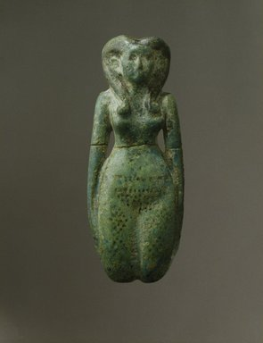 Fertility Figurine, ca. 1938-1630 B.C.E. Faience, 2 x 5 3/16 in. (5.1 x 13.1 cm). Brooklyn Museum, Charles Edwin Wilbour Fund, 44.226. Creative Commons-BY