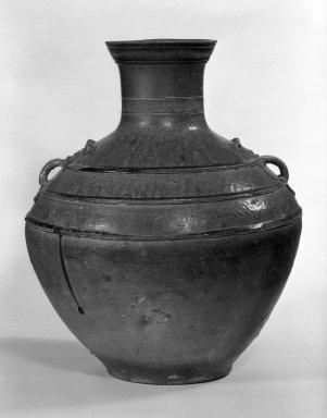 Wine Storage Jar (Hu), 1st century B.C.E. Proto-porcelain (glazed earthenware), 17 1/4 x 14 1/8 in. (43.8 x 35.8 cm). Brooklyn Museum, Gift of Arthur Wiesenberger, 44.233. Creative Commons-BY
