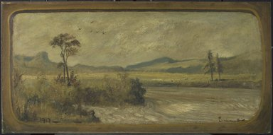 Louis Michel Eilshemius (American, 1864-1942). Landscape, 1917. Oil on board, 14 15/16 x 30 7/16 in. (38 x 77.3 cm). Brooklyn Museum, Gift of Harry Lorber, 44.237