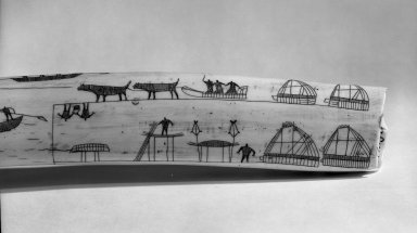 Inupiaq Eskimo (Native American). Walrus Tusk Ivory engraved with pictures of everyday activities, 19th century. Walrus Tusk Ivory, 27 3/4 x 2 x 3 1/4 in. (70.5 x 5.1 x 8.3 cm). Brooklyn Museum, A. Augustus Healy Fund, 44.34.3. Creative Commons-BY