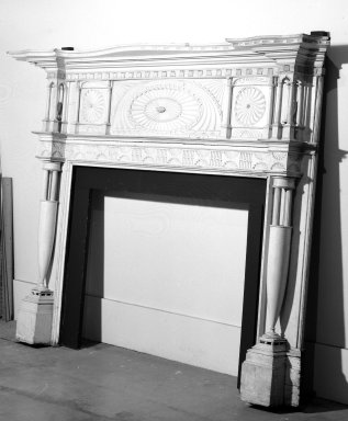 Terhune-Hitchings. Mantelpiece. Pine wood with gray and white marble Brooklyn Museum, Gift of Mrs. Benjamin G. Hitchings, 44.55. Creative Commons-BY