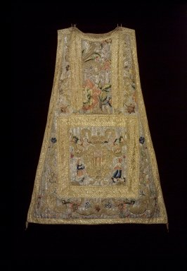 Piece of Chasuble with arms of Mercedarian Order. Textile; silk, metallic threads, 42 x 32 in. Brooklyn Museum, Gift of Francis F. Randolph, J. Ogden Bulkley, and David T. Bulkley, 44.61.1a. Creative Commons-BY