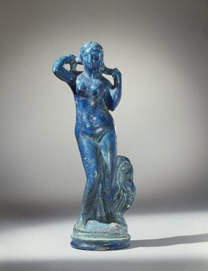 Statuette of Aphrodite Anadyomene, late 2nd century B.C.E. Faience, 14 3/16 x Diam. 4 1/4 in. (36 x 10.8 cm). Brooklyn Museum, Charles Edwin Wilbour Fund, 44.7. Creative Commons-BY