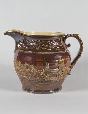 Salamander Works. Pitcher, ca. 1845. Earthenware, 10 x 6 3/4 in. (25.4 x 17.1 cm). Brooklyn Museum, Gift of Arthur W. Clement, 45.1.8. Creative Commons-BY