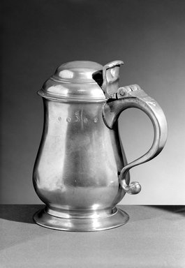John Andrew Brunstrom. Quart Tankard, 1783-1793. Pewter, 7 7/8 x 7 x 4 5/8 in. (20 x 17.8 x 11.7 cm). Brooklyn Museum, Designated Purchase Fund, 45.10.200. Creative Commons-BY