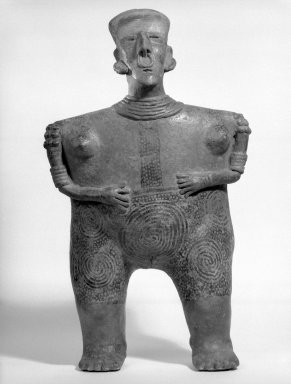 Nayarit. Female Figure, 100-400. Ceramic, pigment, 23 5/16 x 14 x 8 11/16 in. (59.2 x 35.6 x 22.1 cm). Brooklyn Museum, Carll H. de Silver Fund, 45.127. Creative Commons-BY