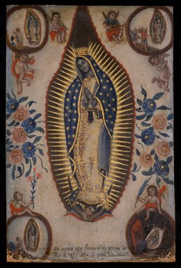 Isidro Escamilla (Mexican, active 19th century). Virgin of Guadalupe, September 1, 1824. Oil on canvas, 22 7/8 x 15in. (58.1 x 38.1cm). Brooklyn Museum, Henry L. Batterman Fund, 45.128.189