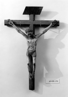 Crucifix, late 18th-early 19th century. Wood, gesso, paint, Cross: 18 1/4 x 11 13/16in. (46.4 x 30cm). Brooklyn Museum, Henry L. Batterman Fund, 45.128.194. Creative Commons-BY