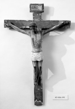 Crucifix. Painted wood, cross: 20 3/4 x 13 9/16 in. (52.7 x 34.4 cm). Brooklyn Museum, Henry L. Batterman Fund, 45.128.195. Creative Commons-BY