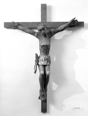 Crucifix. Painted wood, cross: 36 5/16 x 26 3/4 in. (92.2 x 67.9 cm). Brooklyn Museum, Henry L. Batterman Fund, 45.128.203. Creative Commons-BY