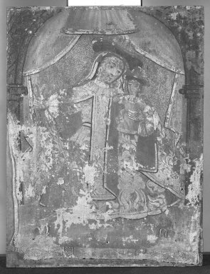 Mexican. Our Lady of Mt. Carmel (Nuestra Senora del Carmen?). Paint on fabric (as per D. Leibold 8/02), 11 x 8 in. (27.9 x 20.3 cm). Brooklyn Museum, Henry L. Batterman Fund, 45.128.71