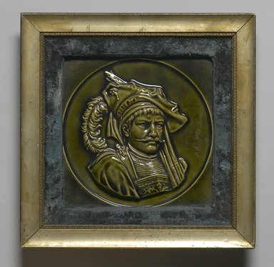 American Encaustic Tile Company Ltd. (1875-1935). Tile, 1885. Glazed earthenware, gilt wood, velvet, 8 3/8 x 8 1/16 in. (21.3 x 20.5 cm). Brooklyn Museum, Gift of Louis C. Garth, 45.139.4