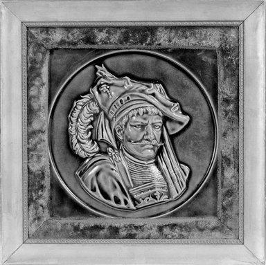 American Encaustic Tile Company Ltd. (1875-1935). Tile, 1885. Glazed earthenware, gilt wood, velvet, 8 3/8 x 8 1/16 in. (21.3 x 20.5 cm). Brooklyn Museum, Gift of Louis C. Garth, 45.139.4