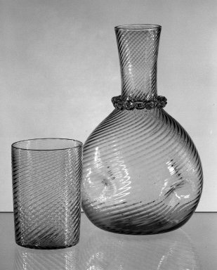 American. Carafe and Tumbler, mid 19th century. Glass, H. of carafe: 8 in. (20.3 cm). Brooklyn Museum, Dick S. Ramsay Fund, 45.143.9a-b. Creative Commons-BY