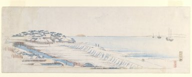 Utagawa Hiroshige (Ando) (Japanese, 1797-1858). Snow Dawn at Susaki from the Letter-Sheet Set, ca.1839-1840. Woodblock color print, 7 x 19 7/8 in. (17.8 x 50.5 cm). Brooklyn Museum, Gift of Louis V. Ledoux, 45.152