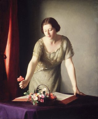 William McGregor Paxton (American, 1869-1941). Girl Arranging Flowers, 1921. Oil on canvas, 30 3/16 x 25 1/16 in. (76.6 x 63.6 cm). Brooklyn Museum, Gift of Mrs. William Paxton, 45.157