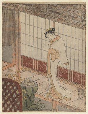 Suzuki Harunobu (Japanese, 1724-1770). Courtesan in Night Attire Standing on a Verandah, ca. 1767. Woodblock color print, Sheet: 10 3/4 x 8 1/4 in. (27.3 x 21.0 cm). Brooklyn Museum, Ella C. Woodward Memorial Fund, 45.158.1
