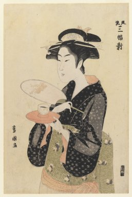 Utagawa Toyokuni I (Japanese, 1769-1825). The Tea House Beauty, 18th century. Woodblock color print, 14 3/4 x 9 5/8 in. (37.5 x 24.4 cm). Brooklyn Museum, Ella C. Woodward Memorial Fund, 45.158.3