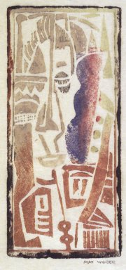 Max Weber (American, born Russia, 1881-1961). Head, Cubist, n.d. Woodcut, 4 3/16 x 1 7/8 in. (10.7 x 4.8 cm). Brooklyn Museum, By exchange, 45.159.3