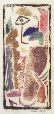 Max Weber (American, born Russia, 1881-1961). Figure, n.d. Woodcut, 4 3/16 x 1 7/8 in. (10.7 x 4.8 cm). Brooklyn Museum, By exchange, 45.159.4
