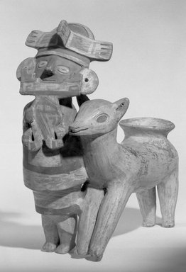 Recuay. Man and Llama Vessel, 200 B.C.E.-600. Ceramic, pigment, 9 5/16 x 8 1/16 x 3 15/16 in. (23.7 x 20.5 x 10 cm). Brooklyn Museum, Gift of Leo E. Fleischman, 45.175.3. Creative Commons-BY