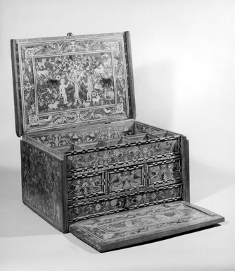 Traveling Desk (Escritorio), early 18th century. Cedar or walnut, citrus and other wood inlays, and iron, 9 1/4 x 16 3/8 x 12 in. (23.5 x 41.6 x 30.5 cm). Brooklyn Museum, Gift of Leo E. Fleischman, 45.175.5. Creative Commons-BY