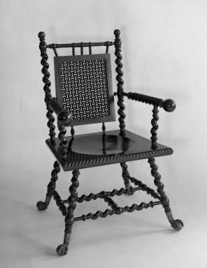 Armchair, ca. 1885. Mahogany, brass Brooklyn Museum, Gift of Eleanor Curnow in memory of her mother, Mary Griffith Curnow, 45.25.13. Creative Commons-BY