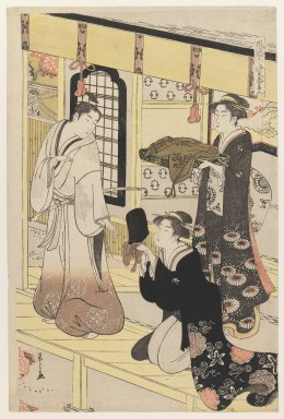 Eishi Chobunsai (Japanese, 1756-1829). 'Hana no En,' from 'Eight Views of Disguised Genji (Furyu Yatsushi Genji)', ca. 1790. Woodblock color print, Sheet: 15 3/8 x 10 13/16 in. (39.0 x 25.9 cm). Brooklyn Museum, Purchased with funds given by Louis V. Ledoux and Asian Art Department Funds, 45.37.4