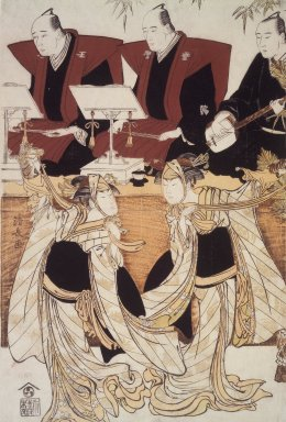 "Torii Kiyonaga (Japanese, 1752-1815). Two Actors as Iwai Hyanshiro IV and Segawa Kikunojo III in the ""Karukoma"" Dance Accompanied by Joruri Recitation on Stage, ca. 1782. Woodblock color print, 14 3/8 x 9 7/8 in. (36.8 x 24.9 cm). Brooklyn Museum, Purchased with funds given by Louis V. Ledoux and Asian Art Department Funds, 45.37.5"