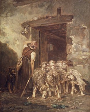 Charles-Émile Jacque (French, 1813-1894). Leaving the Sheep Pen, 1880s. Oil on panel, 18 x 14 9/16 in. (45.7 x 37 cm). Brooklyn Museum, Gift of Jacob Bleibtreu, 45.68.3