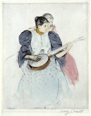 Mary Cassatt (American, 1844-1926). The Banjo Lesson, 1893. Drypoint, softground  and aquatint on verdatre paper, Sheet: 12 3/4 x 9 3/4 in. (32.4 x 24.8 cm). Brooklyn Museum, Bequest of Mary T. Cockcroft, Elizabeth Varian Cockcroft, and Elizabeth Cockcroft Schettler, 46.104