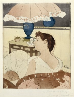 Mary Cassatt (American, 1844-1926). The Lamp, 1891. Drypoint, softground and aquatint on laid paper, Sheet: 16 5/8 x 12 7/16 in. (42.2 x 31.6 cm). Brooklyn Museum, Bequest of Mary T. Cockcroft, Elizabeth Varian Cockcroft, and Elizabeth Cockcroft Schettler, 46.105