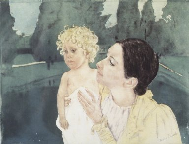 Mary Cassatt (American, 1844-1926). Mother and Child Before a Pool, ca. 1898. Drypoint and aquatint on laid paper, Plate: 12 3/4 x 16 3/4 in. (32.4 x 42.6 cm). Brooklyn Museum, Bequest of Mary T. Cockcroft, 46.106