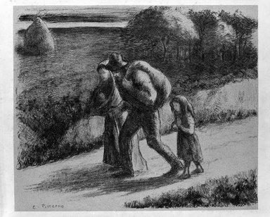 Camille Jacob Pissarro (French, 1830-1903). Les Treimardeurs, 1896. Lithograph on zinc on Ingres pink paper affixed to wove paper, 9 3/4 x 11 11/16 in. (24.8 x 29.7 cm). Brooklyn Museum, Henry L. Batterman Fund, 46.131.1