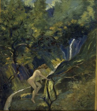 Louis Michel Eilshemius (American, 1864-1942). Nude Ascending, 1908. Oil on cardboard, 27 x 23 5/8 in. (68.6 x 60 cm). Brooklyn Museum, Gift of James N. Rosenberg, 46.14