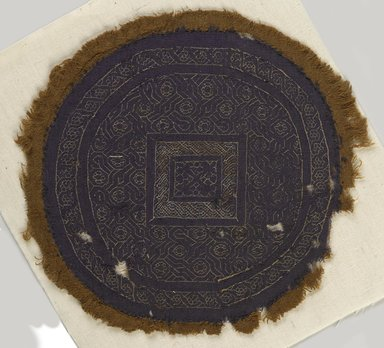 Coptic. Blue Tapestry Roundel, 3rd-4th century C.E. Wool, linen, Diam. 6 11/16 in. (17 cm). Brooklyn Museum, Gift of Pratt Institute, 46.157.11. Creative Commons-BY