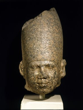 Head of a King, ca. 2650-2600 B.C.E. Granite, 21 3/8 x 11 7/16 in. (54.3 x 29 cm). Brooklyn Museum, Charles Edwin Wilbour Fund, 46.167. Creative Commons-BY